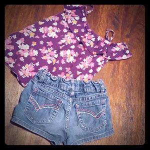 Girls 6 Gymboree Cold Shoulder Top + Sonoma Shorts
